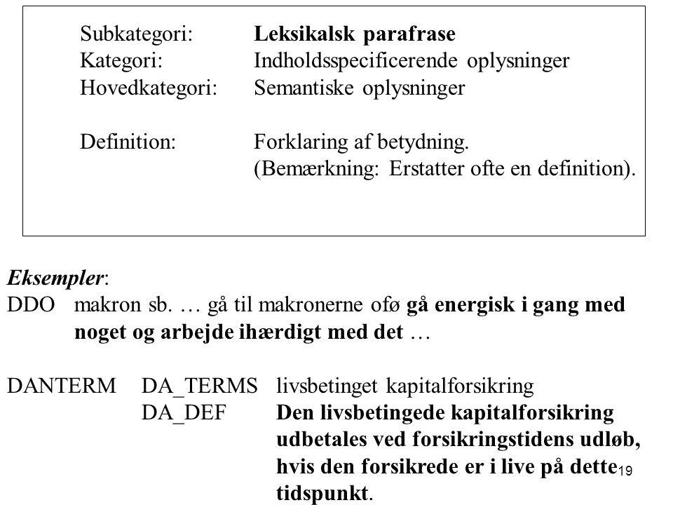 Subkategori: Leksikalsk parafrase