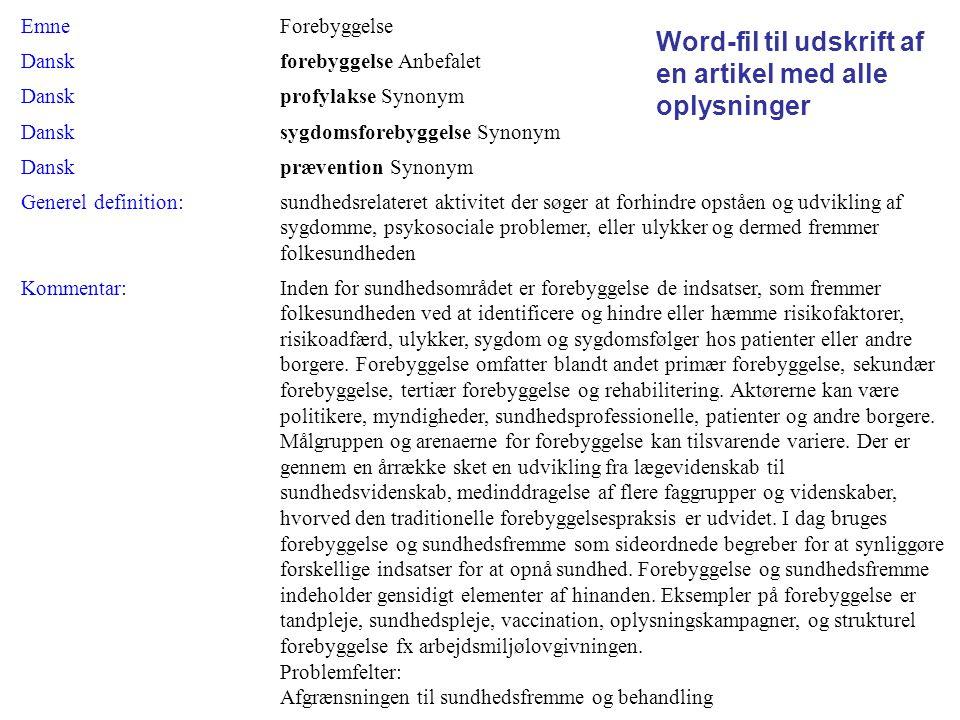 Word-fil til udskrift af en artikel med alle oplysninger