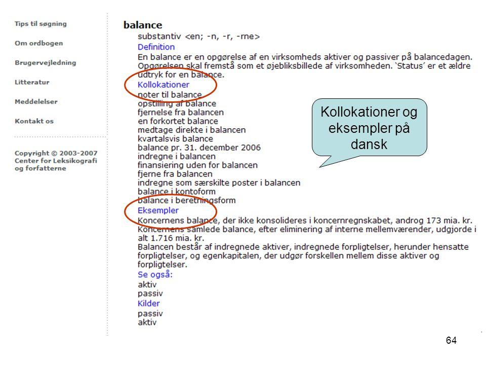 Kollokationer og eksempler på dansk