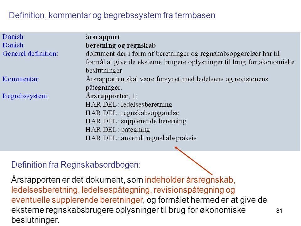 Definition, kommentar og begrebssystem fra termbasen