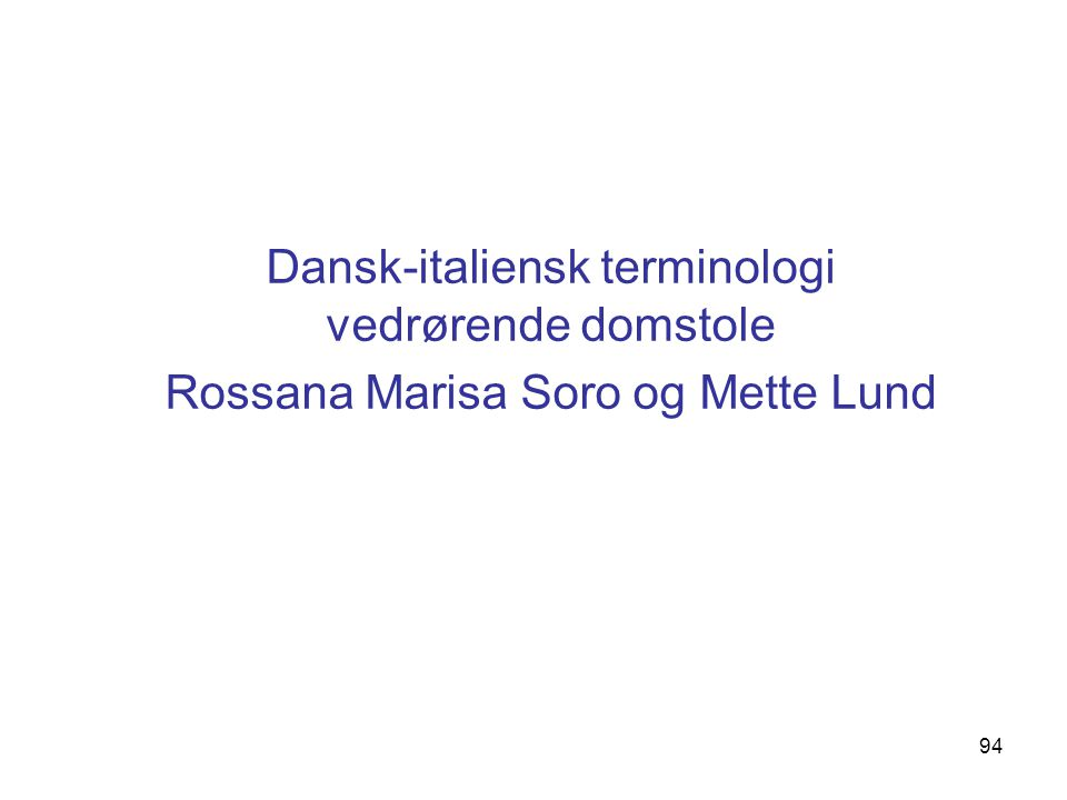 Dansk-italiensk terminologi vedrørende domstole
