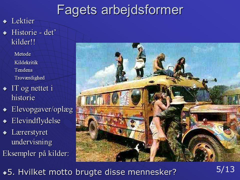 Fagets arbejdsformer Lektier Historie - det' kilder!! Metode