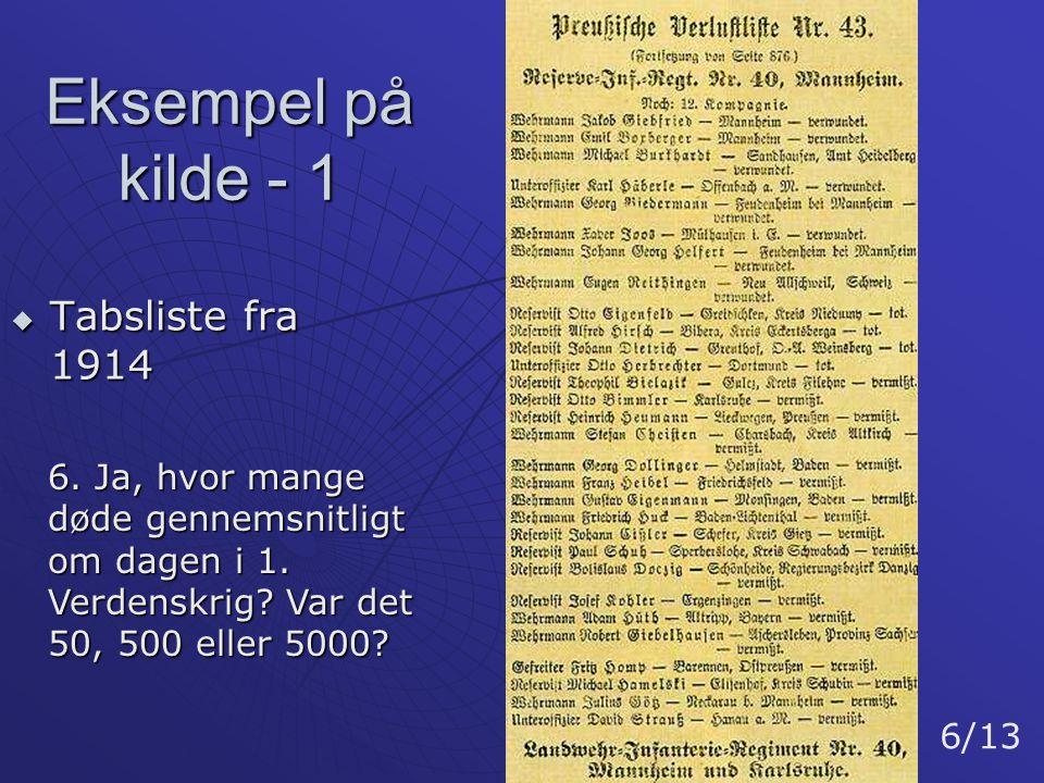 Eksempel på kilde - 1 Tabsliste fra 1914