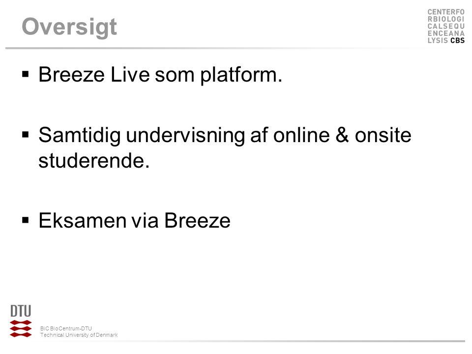 Oversigt Breeze Live som platform.