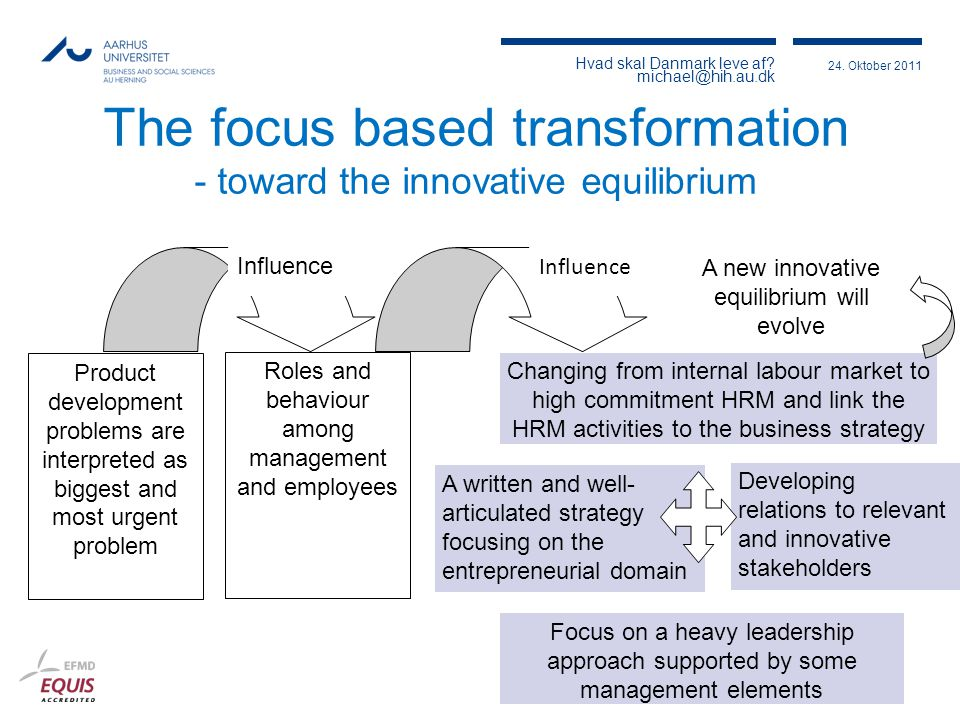 The focus based transformation - toward the innovative equilibrium
