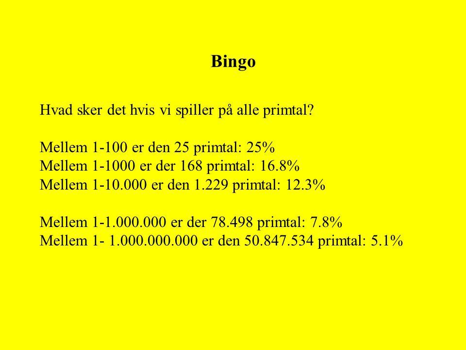Bingo Hvad sker det hvis vi spiller på alle primtal