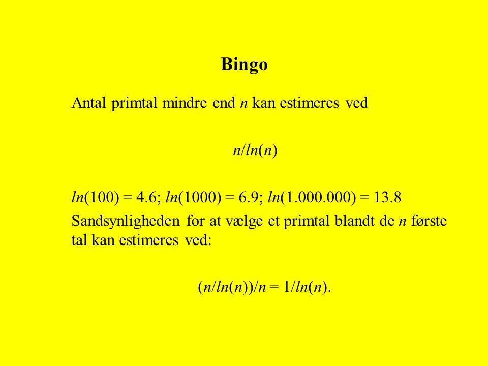 Antal primtal mindre end n kan estimeres ved