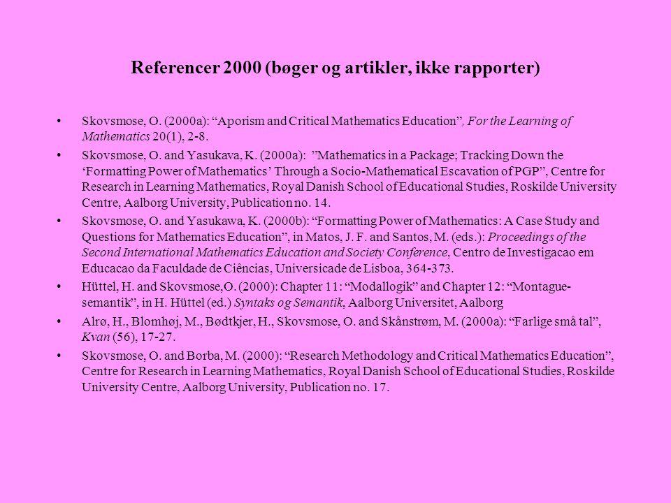Referencer 2000 (bøger og artikler, ikke rapporter)