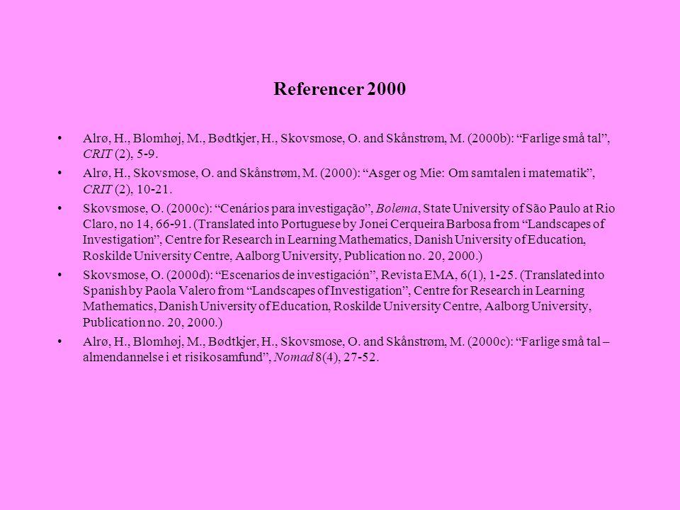 Referencer 2000 Alrø, H., Blomhøj, M., Bødtkjer, H., Skovsmose, O. and Skånstrøm, M. (2000b): Farlige små tal , CRIT (2), 5-9.