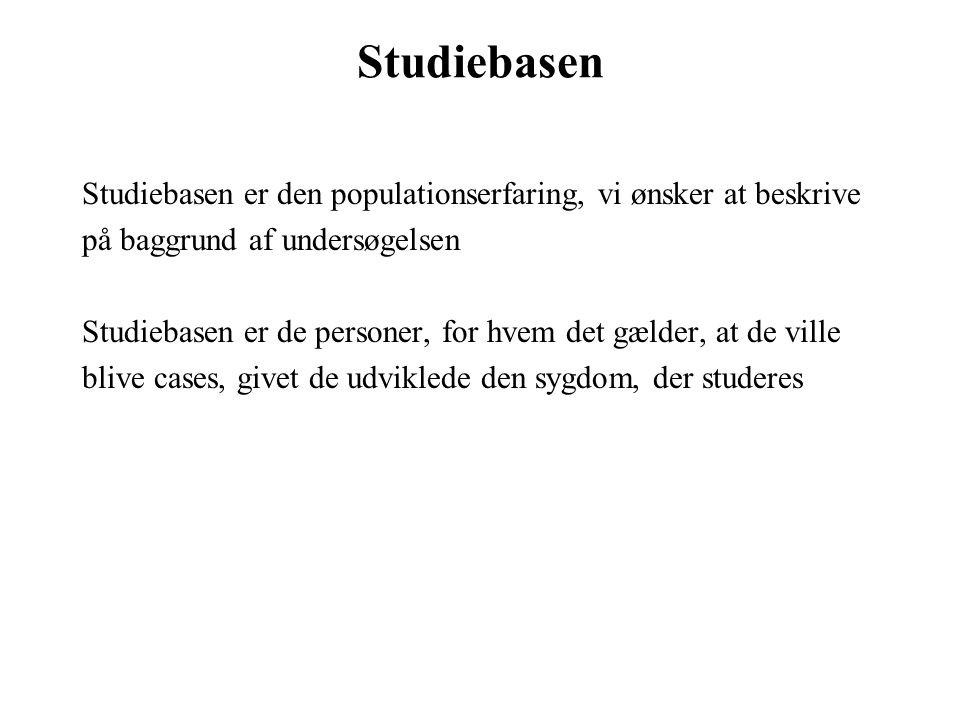 Studiebasen Studiebasen er den populationserfaring, vi ønsker at beskrive. på baggrund af undersøgelsen.
