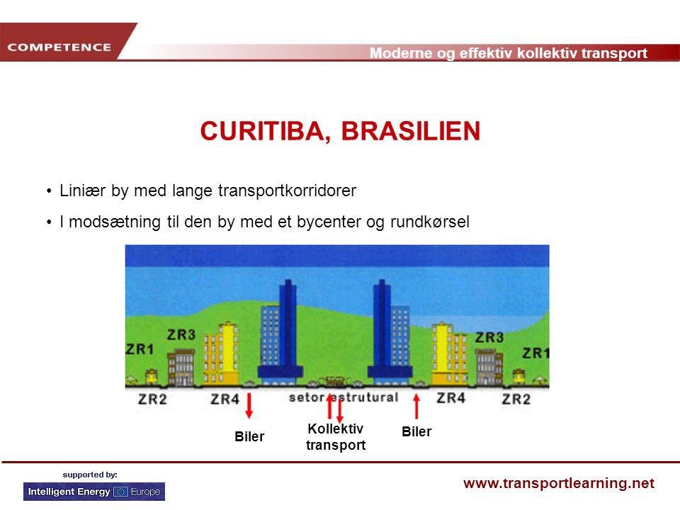 CURITIBA, BRASILIEN Liniær by med lange transportkorridorer