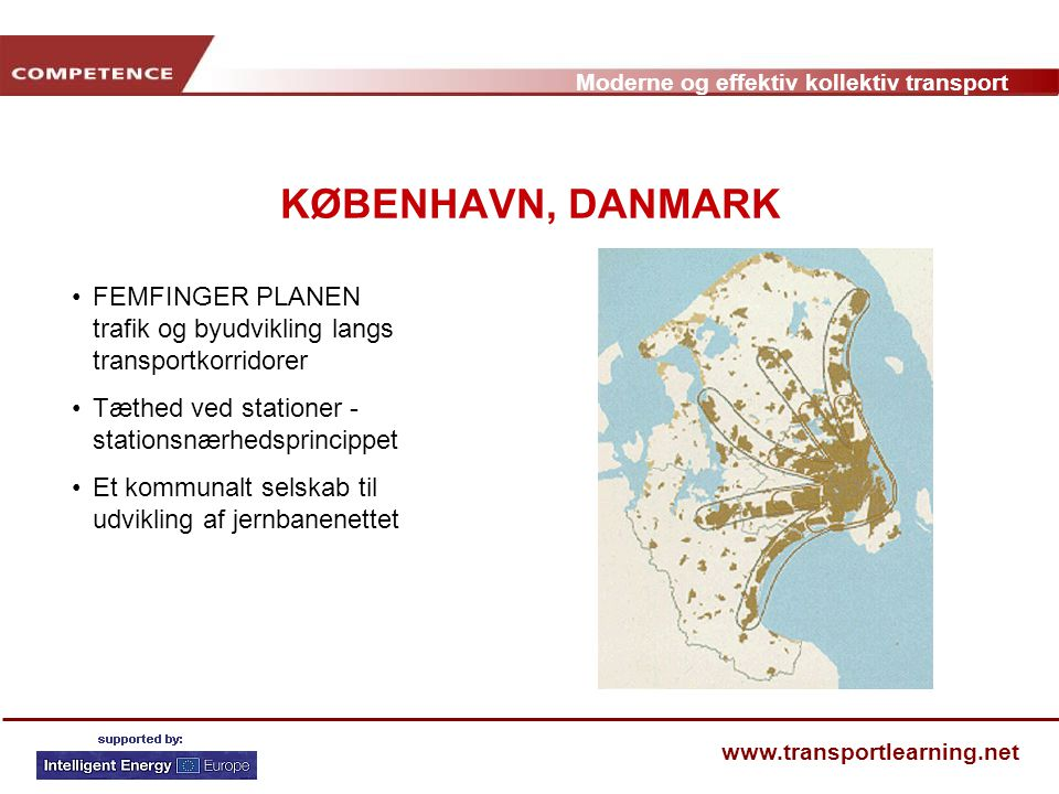 KØBENHAVN, DANMARK FEMFINGER PLANEN trafik og byudvikling langs transportkorridorer. Tæthed ved stationer - stationsnærhedsprincippet.