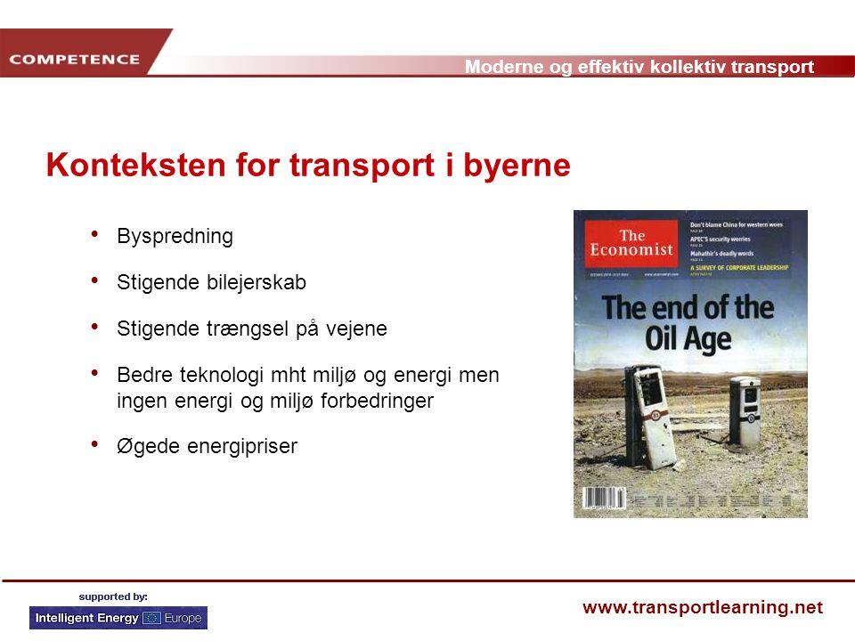 Konteksten for transport i byerne