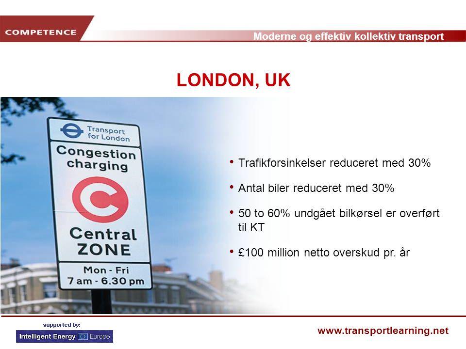 LONDON, UK Trafikforsinkelser reduceret med 30%