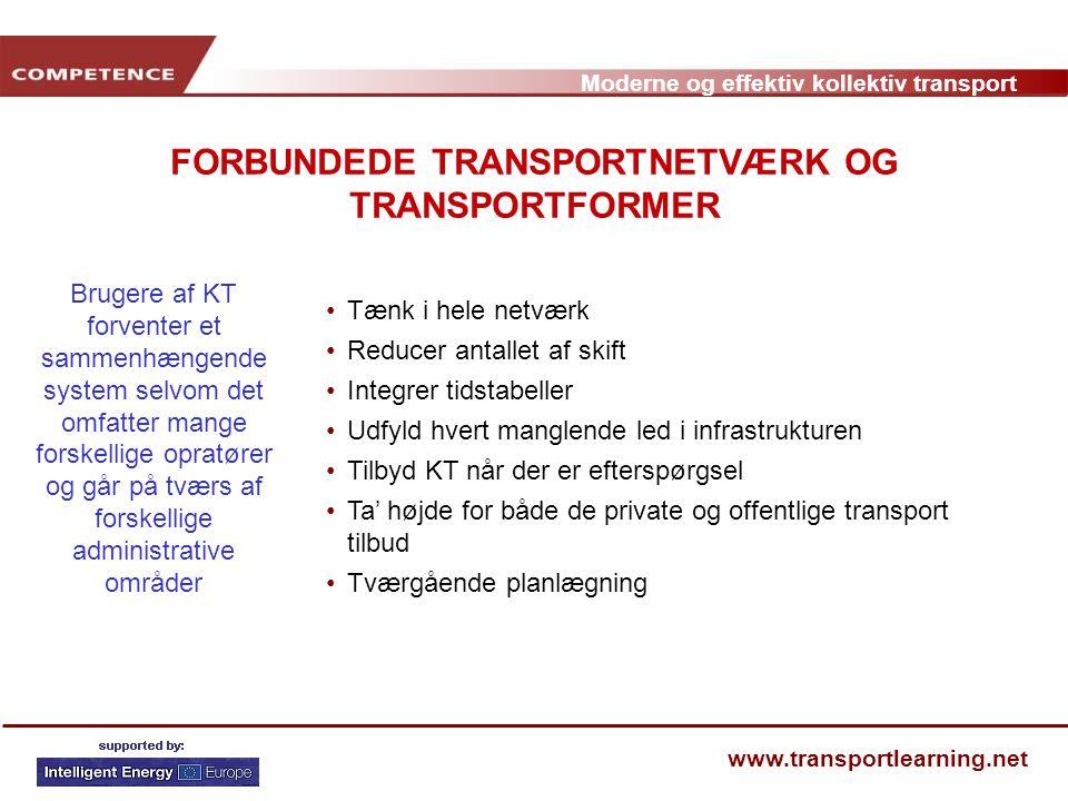 FORBUNDEDE TRANSPORTNETVÆRK OG TRANSPORTFORMER