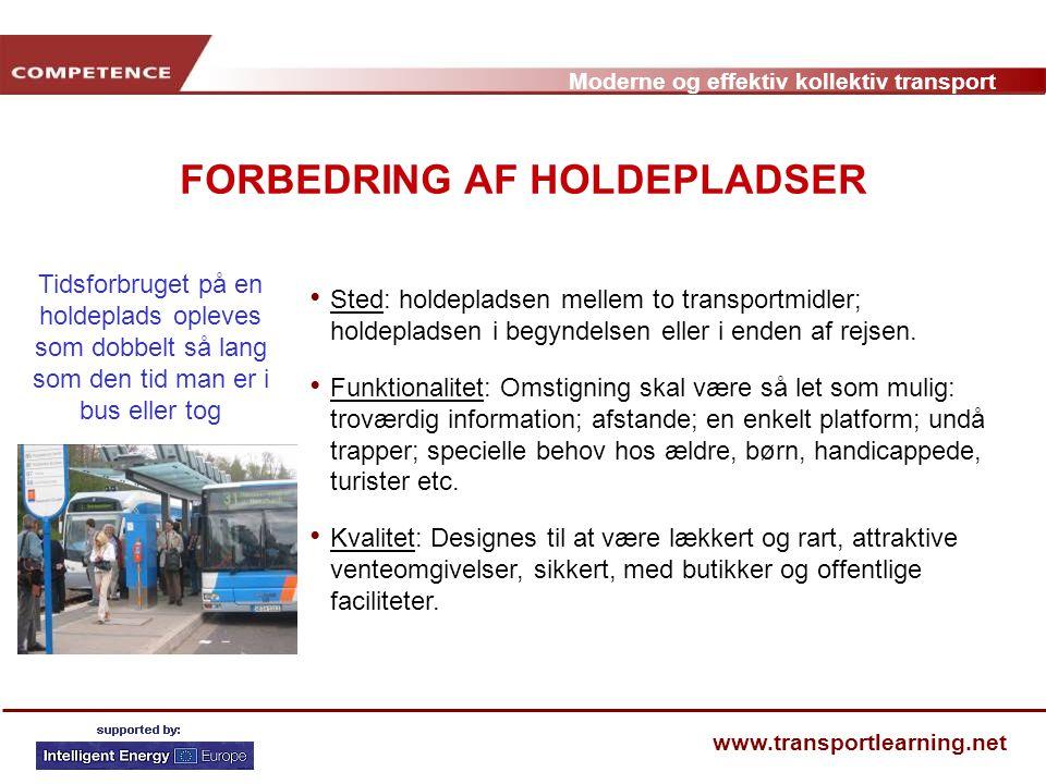 FORBEDRING AF HOLDEPLADSER