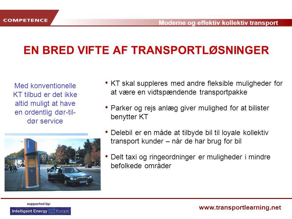 EN BRED VIFTE AF TRANSPORTLØSNINGER