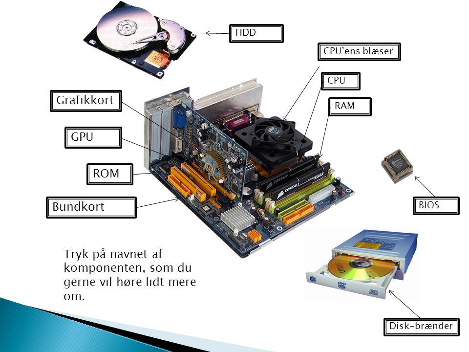 Tryk på navnet af komponenten, som du gerne vil høre lidt mere om.