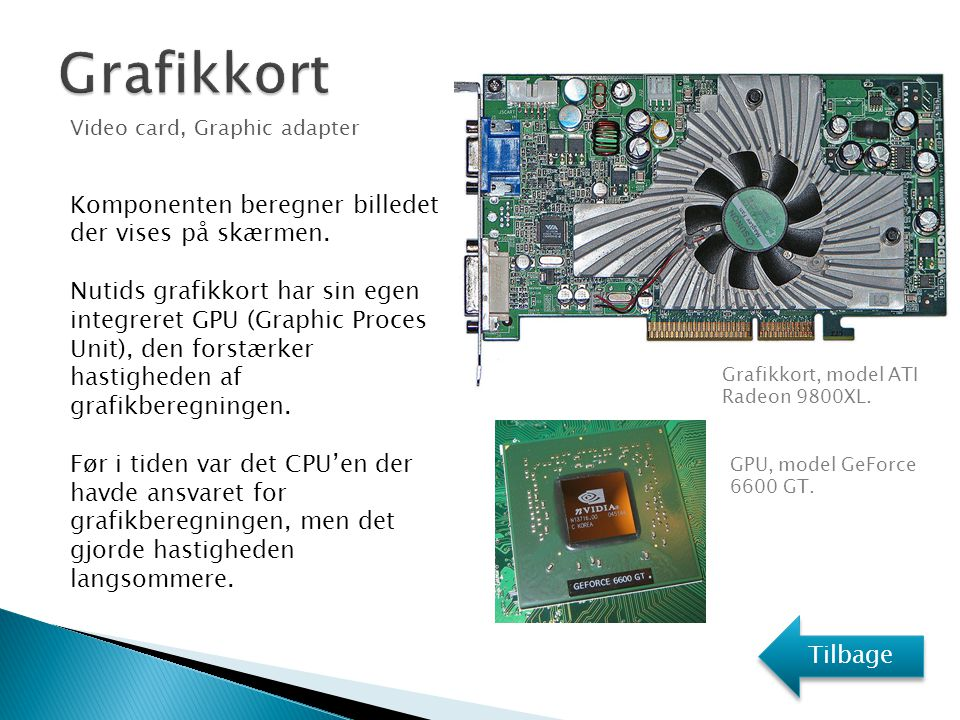 Grafikkort Komponenten beregner billedet der vises på skærmen.
