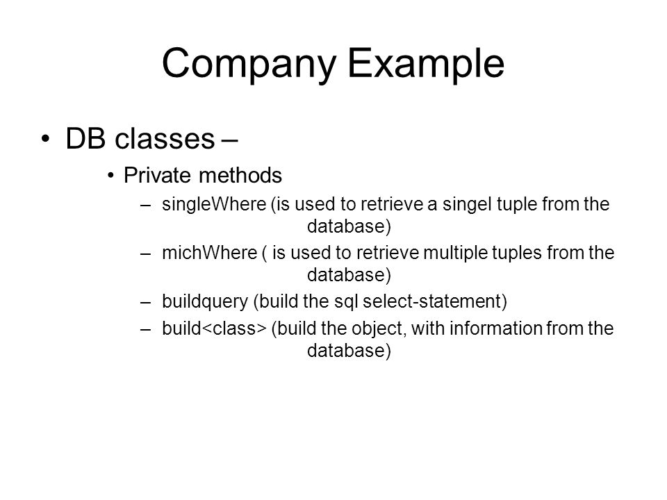 Company Example DB classes – Private methods
