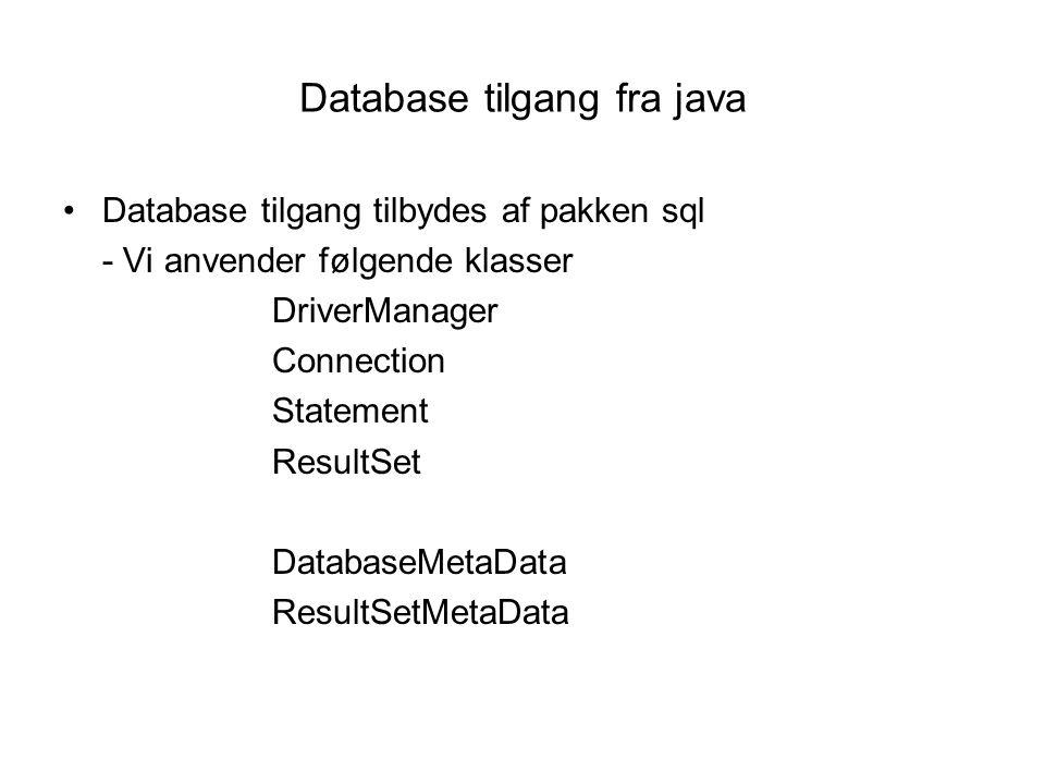 Database tilgang fra java