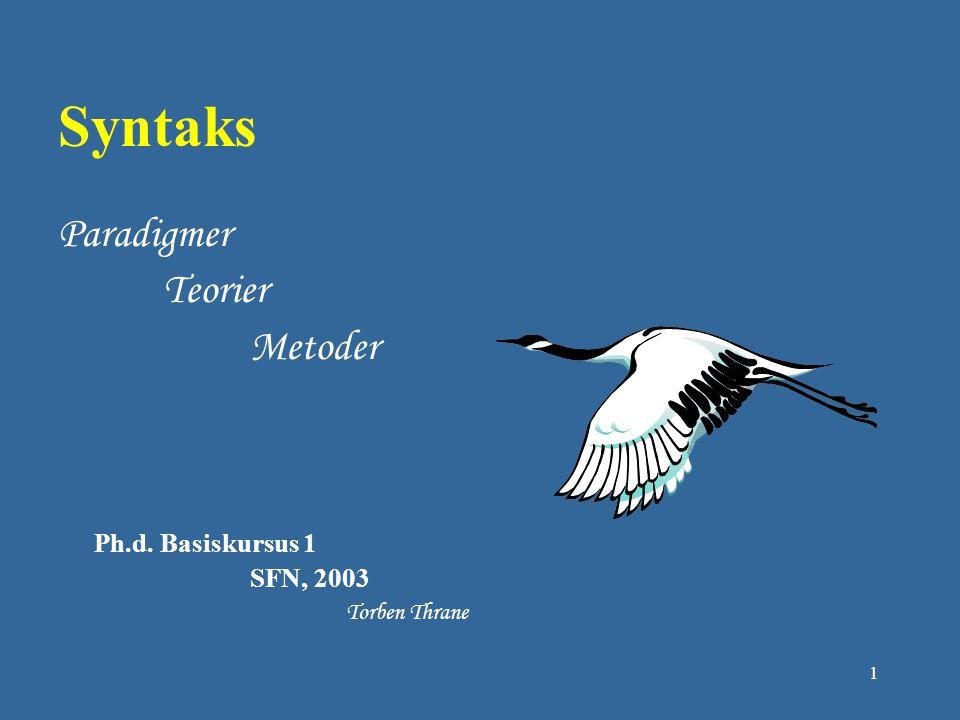 Syntaks Paradigmer Teorier Metoder SFN, 2003 Ph.d. Basiskursus 1