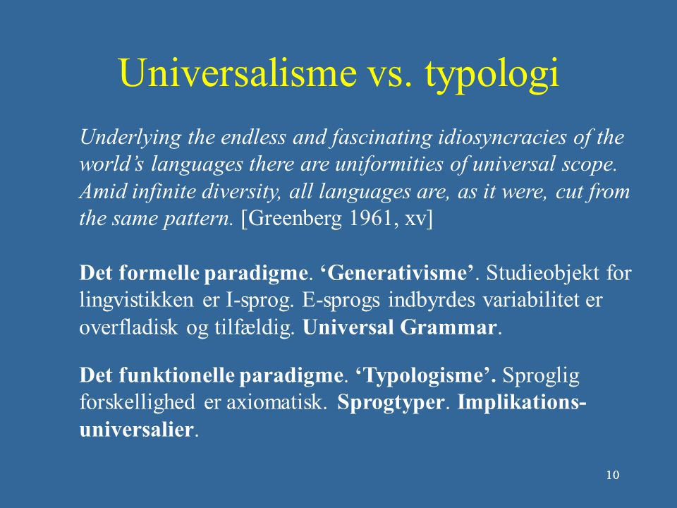 Universalisme vs. typologi