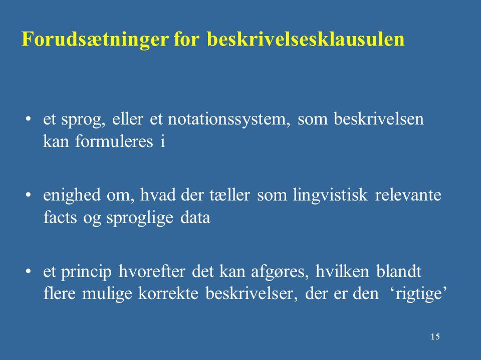 Forudsætninger for beskrivelsesklausulen