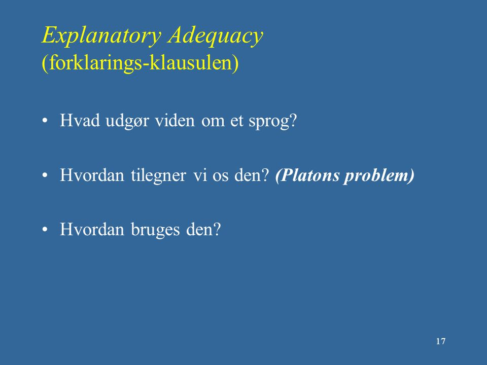 Explanatory Adequacy (forklarings-klausulen)