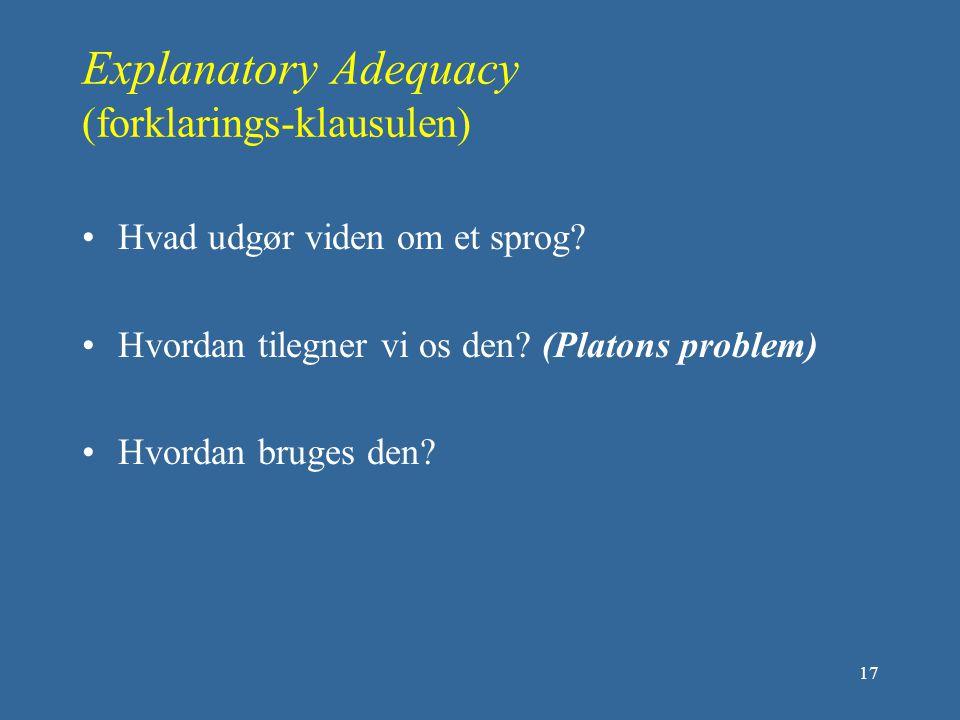 Explanatory Adequacy (forklarings-klausulen)