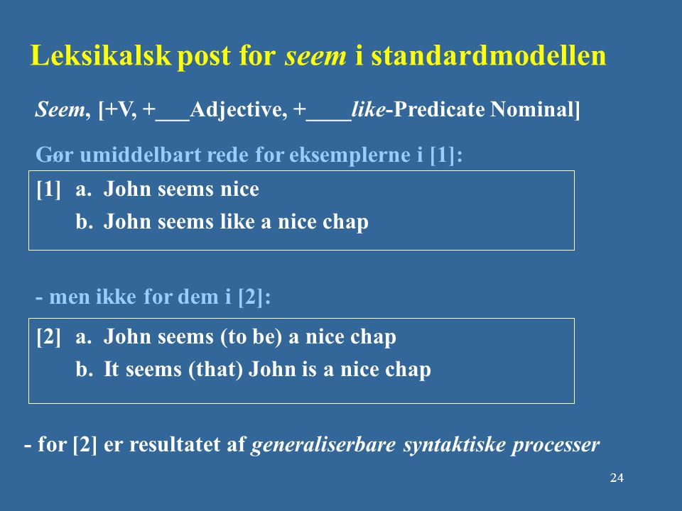 Leksikalsk post for seem i standardmodellen