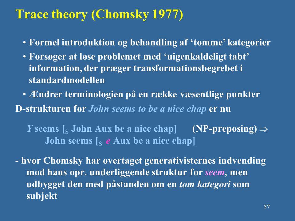 Trace theory (Chomsky 1977)
