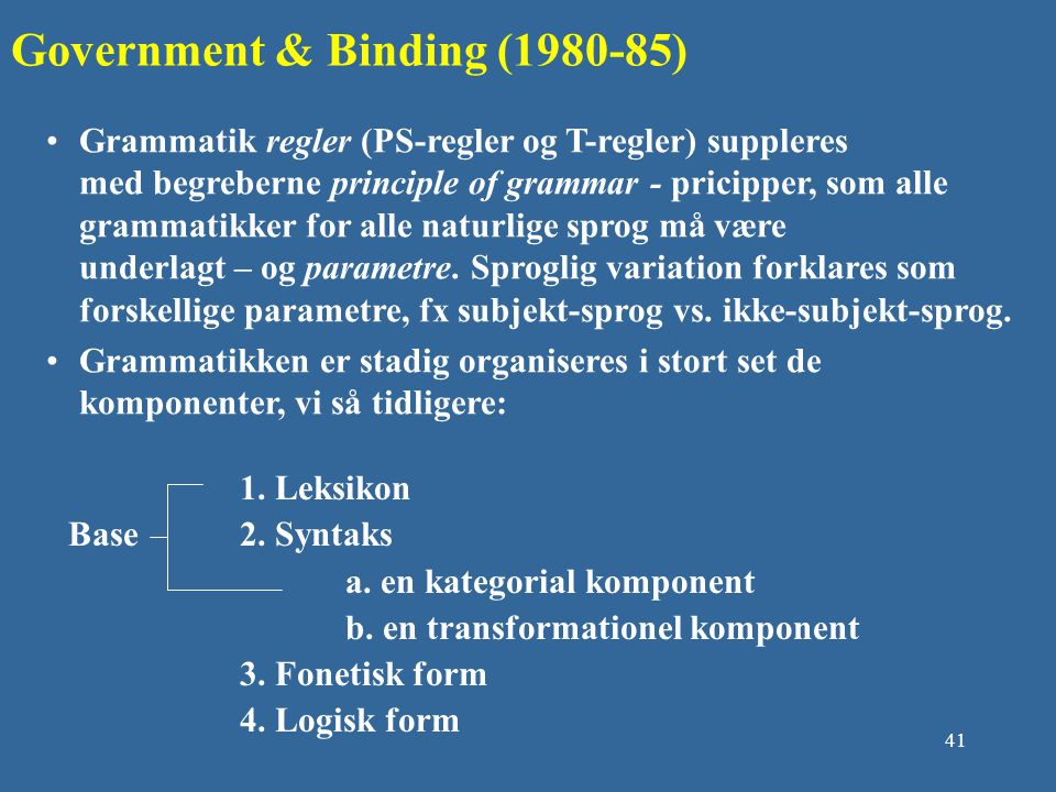 Government & Binding (1980-85)