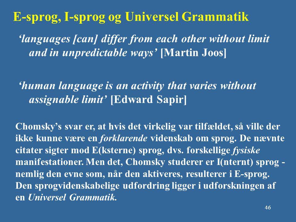 E-sprog, I-sprog og Universel Grammatik