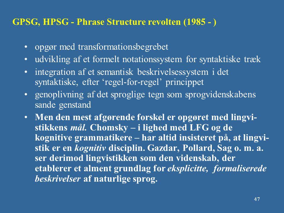 GPSG, HPSG - Phrase Structure revolten (1985 - )