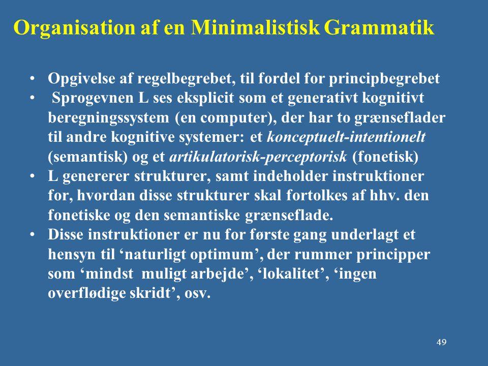 Organisation af en Minimalistisk Grammatik