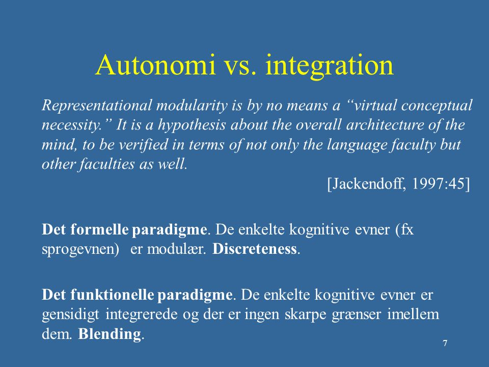Autonomi vs. integration