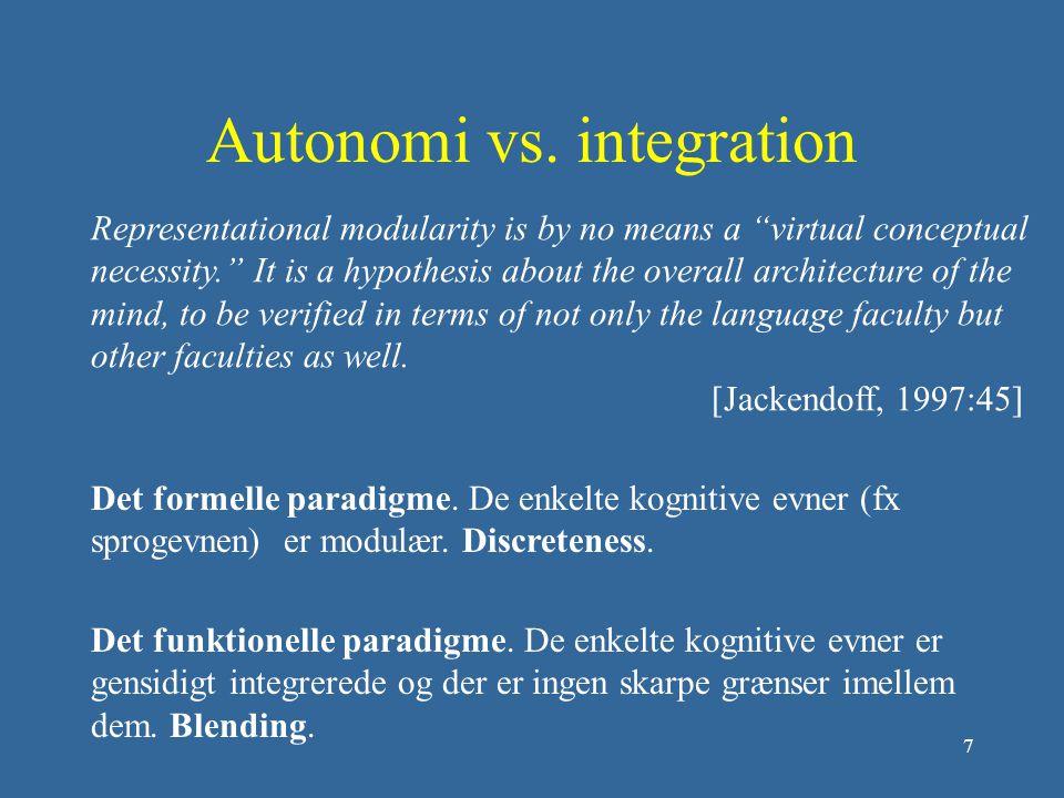 Autonomi vs. integration
