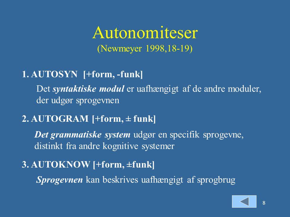 Autonomiteser (Newmeyer 1998,18-19)