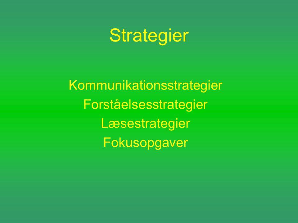 Strategier Kommunikationsstrategier Forståelsesstrategier