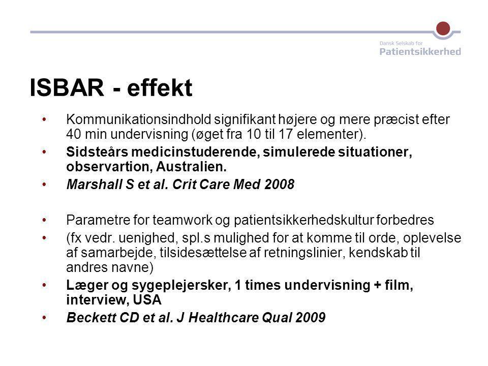 ISBAR - effekt Kommunikationsindhold signifikant højere og mere præcist efter 40 min undervisning (øget fra 10 til 17 elementer).
