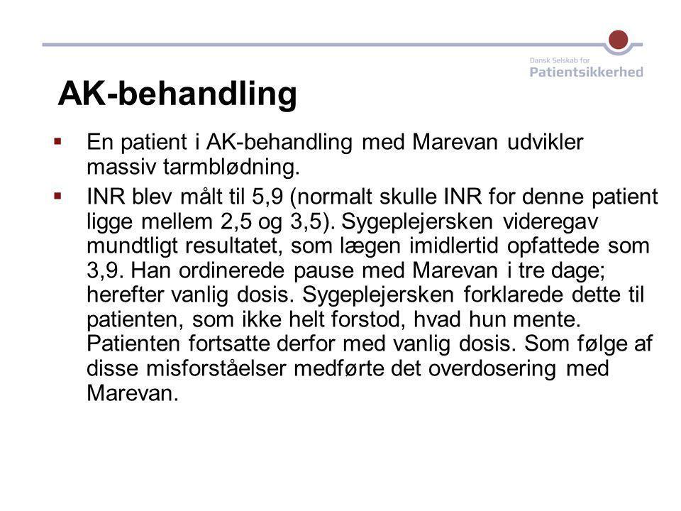 AK-behandling En patient i AK-behandling med Marevan udvikler massiv tarmblødning.