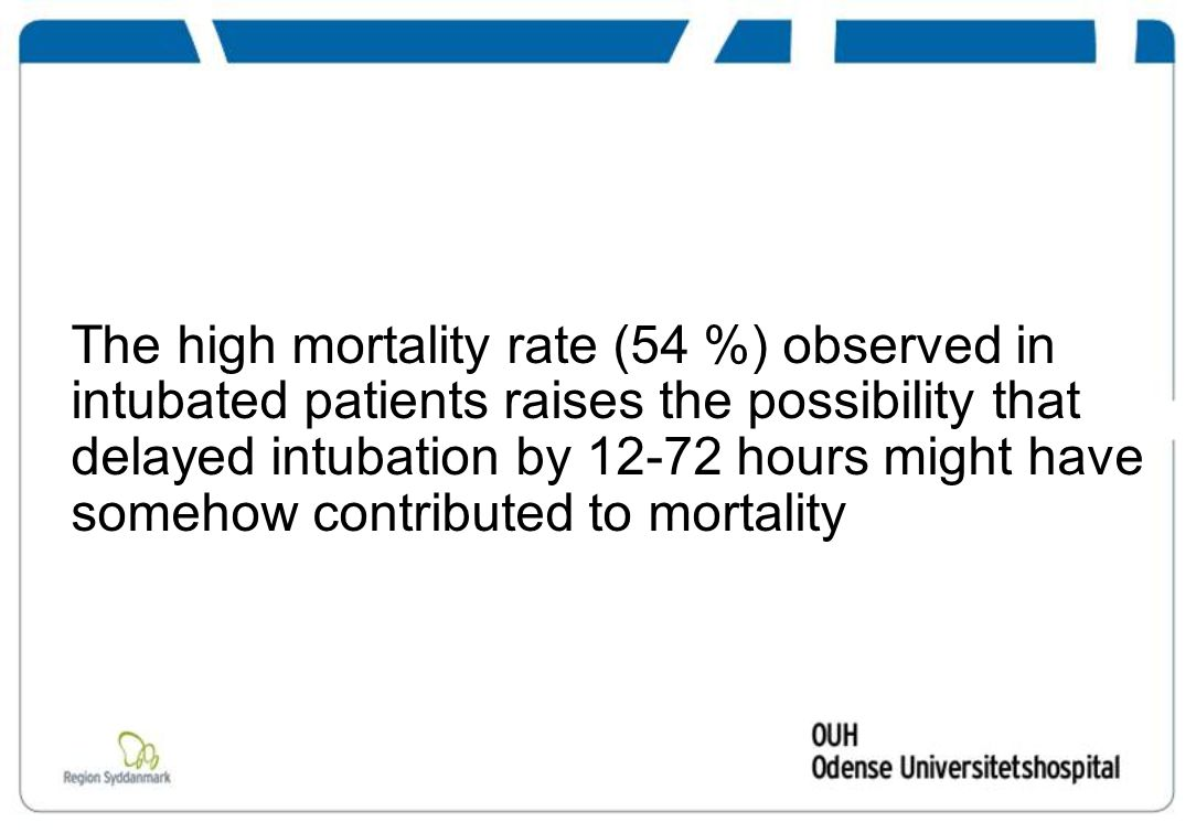 The high mortality rate (54 %) observed in intubated patients raises the possibility that delayed intubation by 12-72 hours might have somehow contributed to mortality