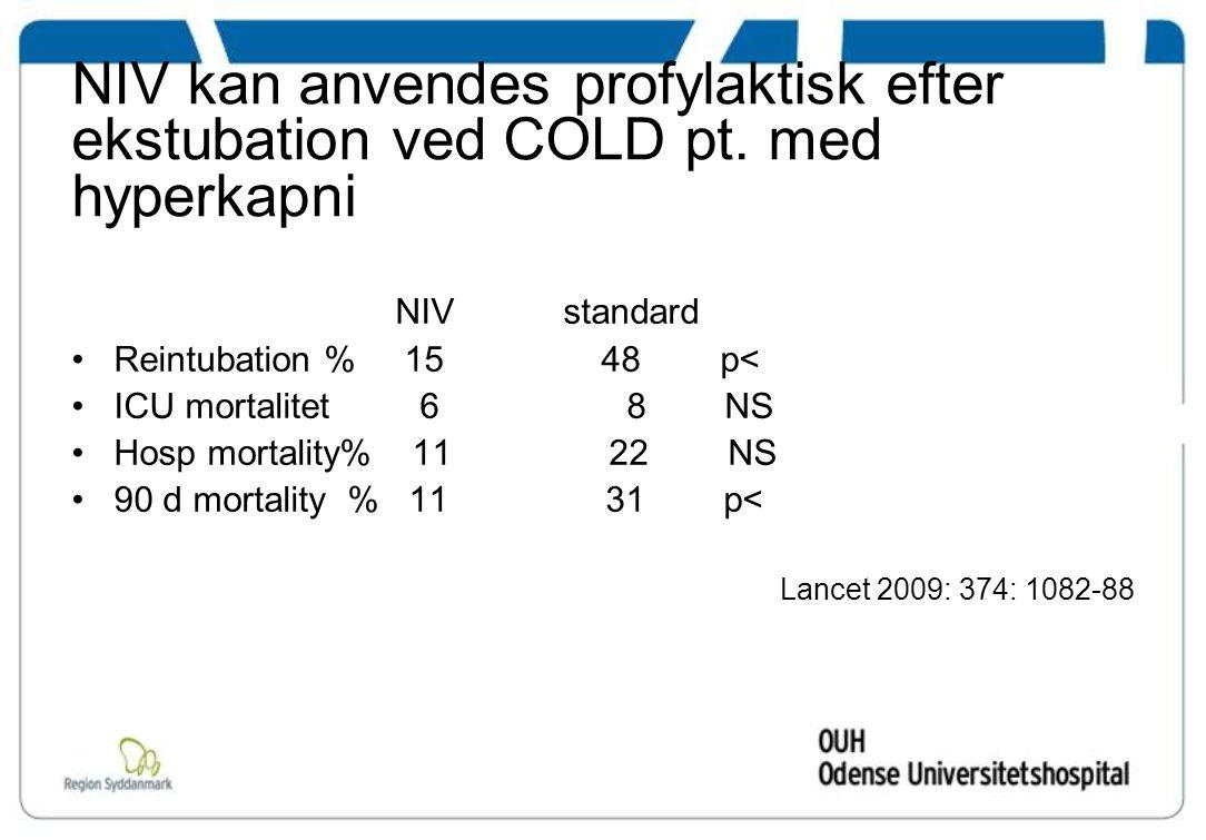 NIV kan anvendes profylaktisk efter ekstubation ved COLD pt