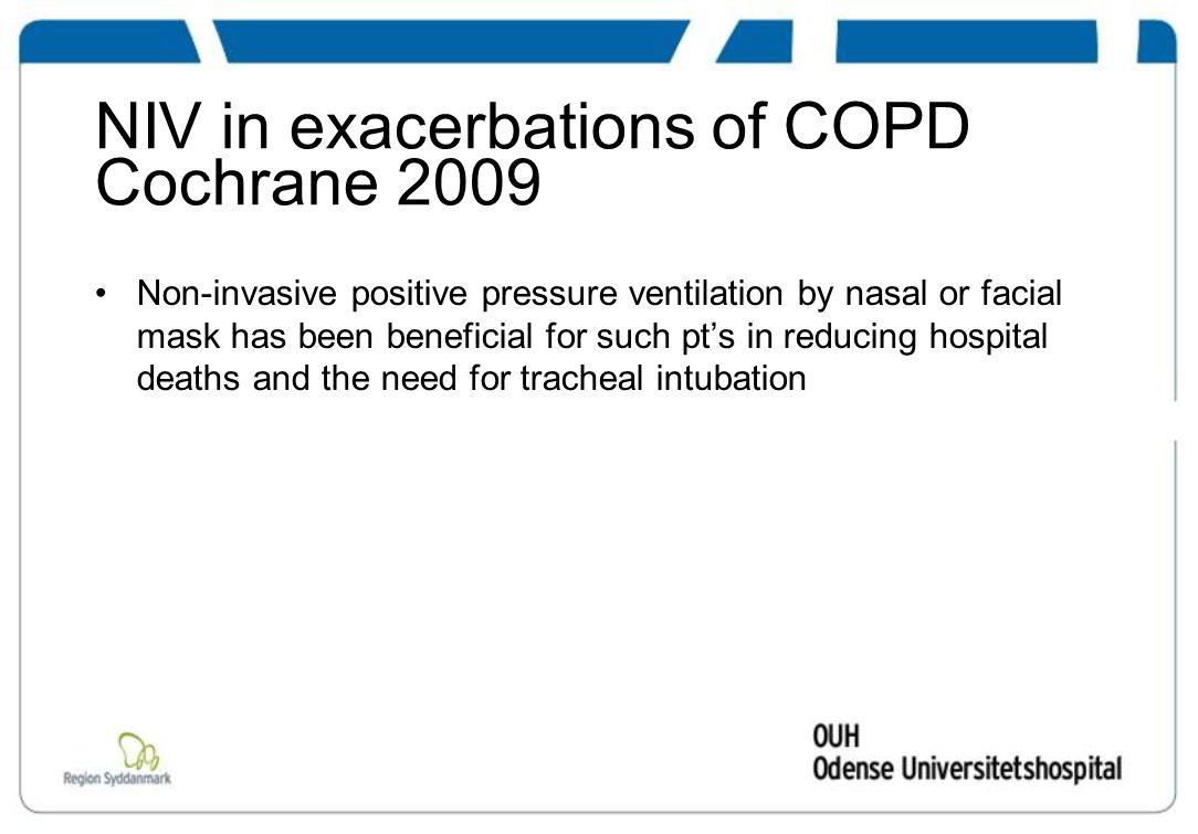 NIV in exacerbations of COPD Cochrane 2009