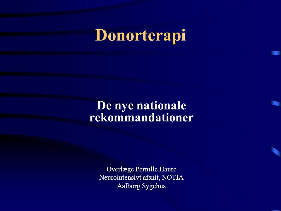De nye nationale rekommandationer