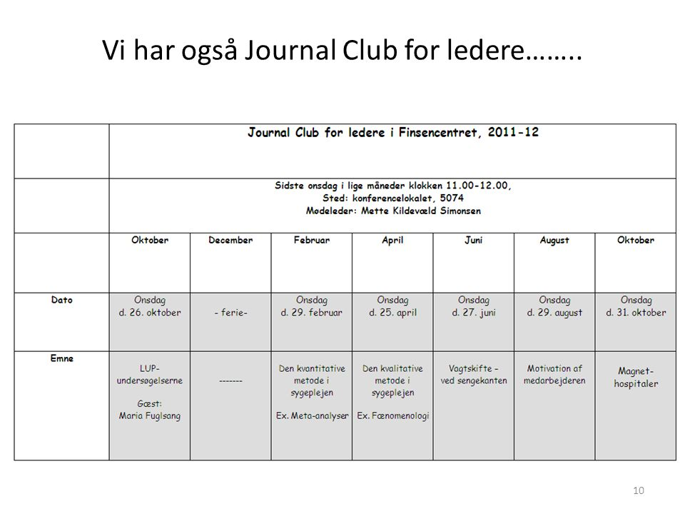 Vi har også Journal Club for ledere……..