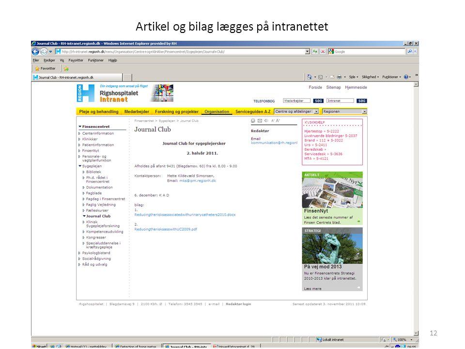 Artikel og bilag lægges på intranettet