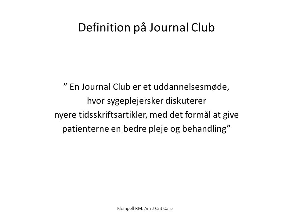 Definition på Journal Club