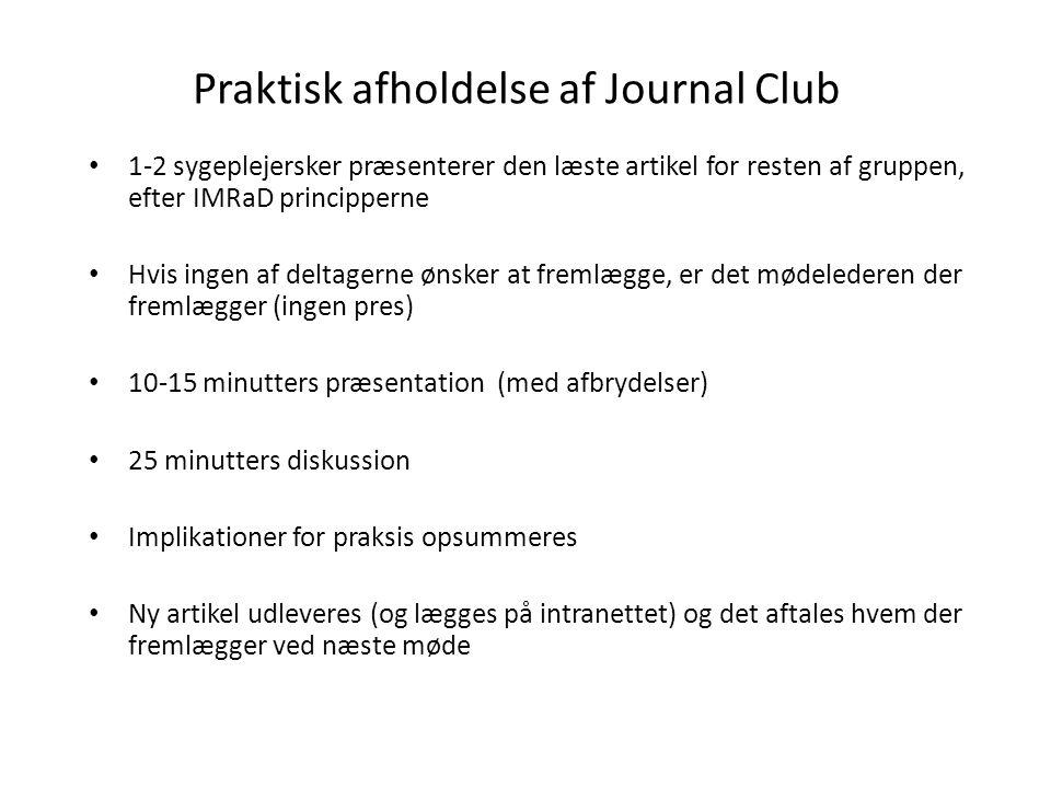 Praktisk afholdelse af Journal Club